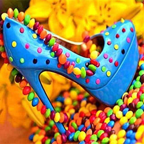 Juwelen Kinder Schuhe (Diamant-Malerei Steine Nicht Steinchen Volle Quadrat Candy Schuhe Symbol Diamant Malerei Kreuzstich Nadel Geschenk Diy 5D Diamant Stickerei Bild Von Strass 20X20 Cm)