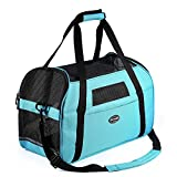 "Cat Dog Carrier Airline Approved Pet Travel Soft Sided Tote Shoulder Bags with Breathable Mesh Mats (S 16""L×8""W×11.5""H, Blue)"