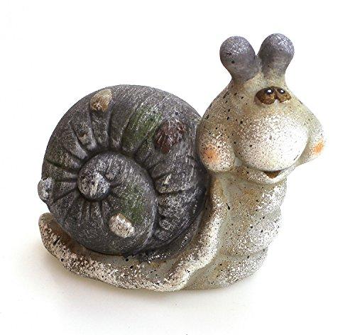 TEMPELWELT Deko Figur Gartenfigur Schnecke 15 x 8 x 13 aus Ton matt grau Stein Optik mit Steindeko, Dekofigur witzige Gartendeko Steintier