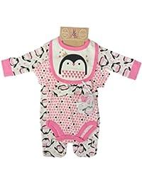 Lily And Jack 5 Piece Set Sleepsuit Bib Pink Dinosaur Mitts Hat Vest