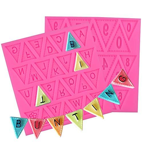 BESTZY 2PCS Silikonform Silikon Fondant Cupcake Mould A-Z Brief 0-9 Nummer Flagge Bunting Wimpelkette Geburtstag Hochzeit Taufe Namen (Eine Ausstechformen Große Brief)