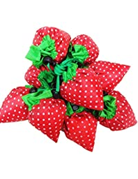 MK Set Of 10 Strawberry Design Eco Friendly Nylon Folding Shopping Bag Assorted Color
