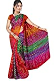 Stylish Sarees Women's Crepe Saree (H A B 47 Multy, Multicolor, Free Size)