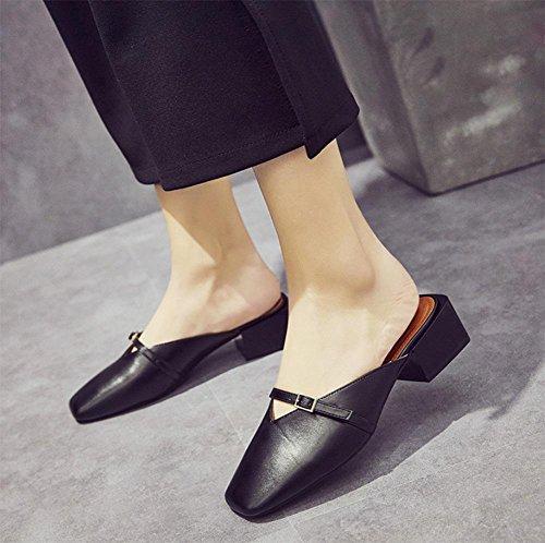 Metallschnalle Sommer Frauensandelholzen Freizeitschuhe Frauenschuhe mit weiblichen Pantoffeln Black