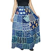 Women A-Line Patchwork Skirt Blue Rayon Vintage Gypsy Fashion Skirts S/M