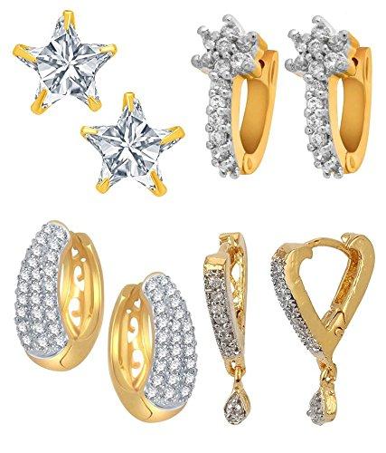 Jewels Galaxy American Diamond White Hoop Earrings For Women/Girls , Combo Of 4