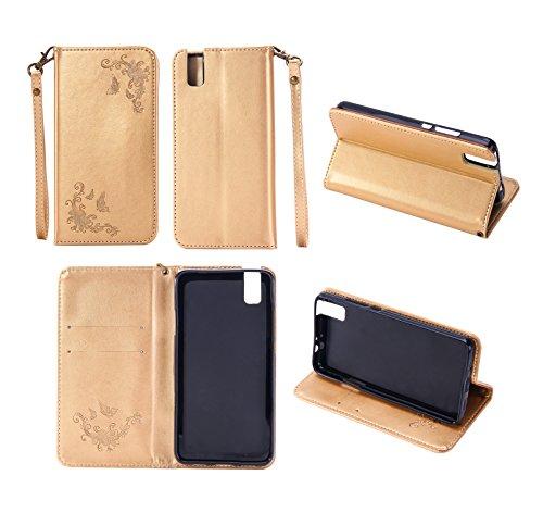 Cozy Hut Huawei ShotX/Honor 7i Hülle | Lederhülle | Handyhülle | Schutzhülle | Handytasche | Tasche | Cover | Case Für Huawei ShotX/Honor 7i - golden