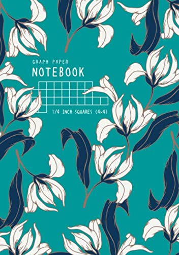 Graph Paper Notebook 1/4 Inch Squares: A5 Medium Composition Book Quad Ruled for Math and Science | 4 Grids per Inch - 4x4 | Elegant drawing Flower Design Teal