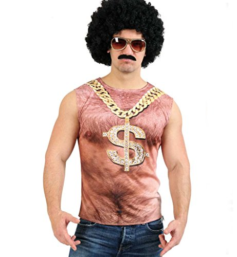 (KarnevalsTeufel Shirt Bronko für Herren mit aufgedruckter Goldkette, Tanktop, DJ, Macho, Dollar, fotorealistisches Shirt (X-Large))