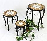 DanDiBo Blumenhocker Merano Mosaik 3er Set 12014 Blumenständer 20, 27, 37 cm Hocker Rund