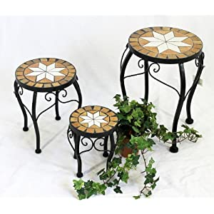 DanDiBo Blumenhocker Mosaik Rund 3er Set 20, 27, 37 cm Blumenständer 12014 Beistelltisch Pflanzenständer Mosaiktisch…