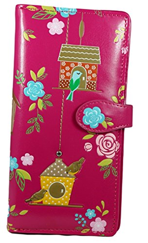 Shagwear portafoglio per giovani donne , Large Purse : Diversi colori e design: Rifugio degli uccellini fuschia/ Birdie Retreat