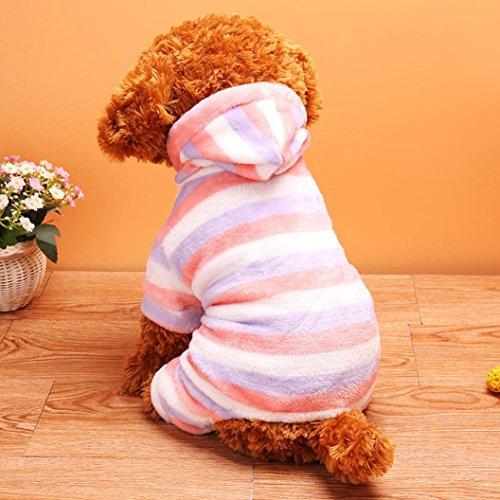 Upxiang Welpe Winter Verdickung Gestreiften Korallen Samt Haustier Kleidung Padded Vierbeinige Warme Haustier Mäntel Hund Kostüme Haustier Kleidung Welpen Nacht Tragen (M, Lila Streifen) (Lila Welpe-kleidung)