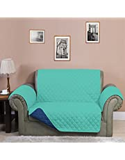 3 Seater Reversible Sofa Cover 179 cm x 279 cm - @home by Nilkamal, Sea Green & Indigo