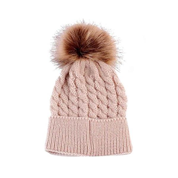 BlueSterCool Sombreros bebé, Invierno Sombrero de Punto de 0-36 Meses niña Gorras Pelota de Felpa Mantenga el Sombrero…