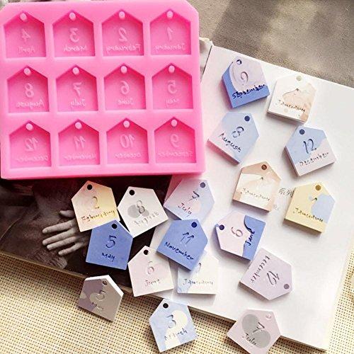DIY Silikonform,Househome DIY Auto Anhänger Gips Formen 12 Monate Kuchen Dekoration Werkzeuge Aromatherapie Wachs Tablet Silikonform