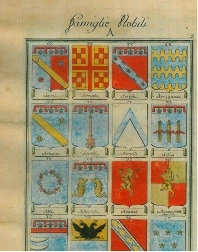 Famiglie nobili. A. : Armi/Arrighi/Arriguzzi/Artusini/Asinelli/Asti/Atticonti/Avanzi/Avesa o dall'Avesa/Avogli/Azzoni/Azzoguidi/Azzolini