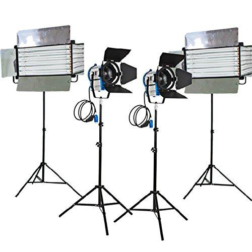 HWAMART ® (2x1000W+2x6bank) Kit 2x1000W Fresnel Tungsten Lichter 2x Fluorescent 6 Bank mit gespiegelten Finish Rohr Fluorescent Flickr frei osram Rohr osram Ballast Licht zu Hause Filmstudio Flickr kostenlos