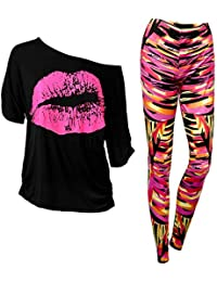 80er Jahre Damen Kostüm Set, Lips Druck T Shirt mit 80er Jahre Legging Pants, Casual Übergröße von der Schulter