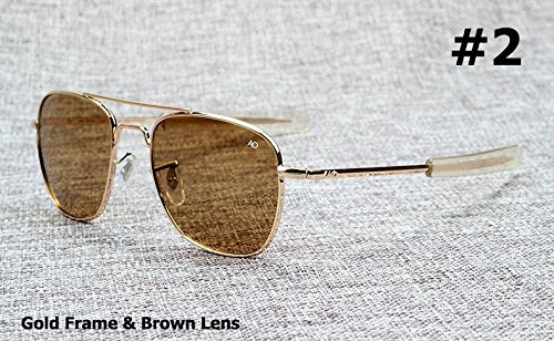 Mode Armee-Milit?r AO Pilot 54mm Sonnenbrille Marke American Optical Glas-Objektiv-Gl?ser Oculos De...