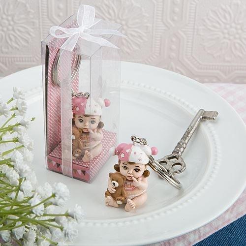6 Vintage Baby-Schlüsselring-Babyparty oder Taufe Bevorzugungen Geschenke - Pink (2 Satz) (Vintage Baby-dusche-bevorzugungen)