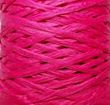 Papier ruban en raphia - 25couleurs - 50m de long - 7 à 10mm de large - Déplié 35mm - Cadeau idéal pour travaux manuels, scrapbooking, décoration de fleurs rose fuchsia
