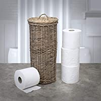 Antique Wash Hand Made Free Standing Toilet Roll Paper Holder Stand Bathroom Storage Basket