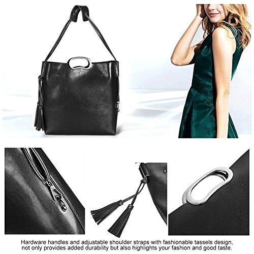 Vbiger Borse da donna in 2 borse a tracolla in PU Borse da viaggio alla moda in pelle con borse a tracolla (Vino rosso) Nero