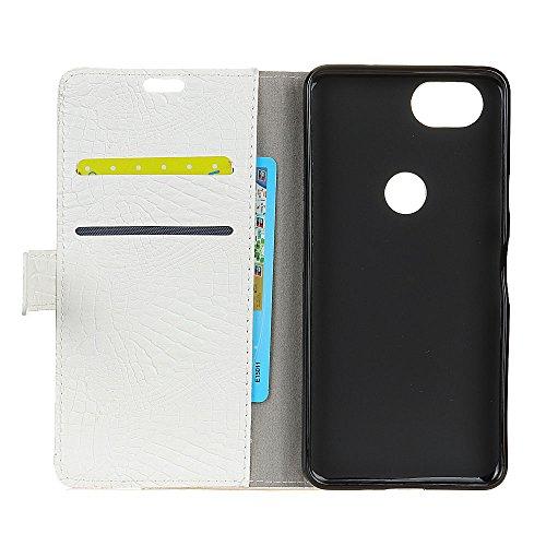 Krokodil Haut Textur Muster Kunstleder Folio Stand Case Soft Silikon Abdeckung mit Kartensteckplätzen für Google PIXEL 2 ( Color : Black ) White