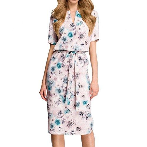 MIRRAY Damen Blumendruck Langarm-V-Ausschnitt Minikleid Verbandkleid -