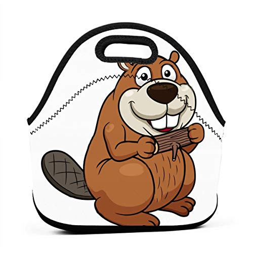 Bidetu Stock-vector-vector-illustration-of-cartoon-beaver-with-a-wood-130222277 Lunch Bag Insulated Lunch Box Reusable Lunch Tote Cooler Organizer Bag Lunch Bags for Women,Men And Kids Adults