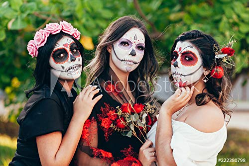 Wunschmotiv: Portrait of Calavera Catrina. Young women with sugar skull makeup. Dia de los muertos. Day of The Dead. Halloween. #222380798 - Bild hinter Acrylglas - 3:2 - 60 x 40 cm / 40 x 60 cm (Halloween Für Make-up Calaveras)