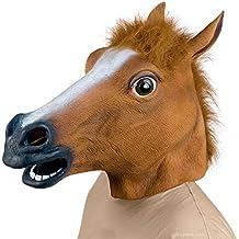 HOSdog Juguete máscara de caucho látex de la cabeza de caballo de decoración para el partido de Halloween, marrón