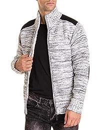 32711eea9858 BLZ Jeans - Gilet Homme FELICIEN Blanc chiné avec coudières