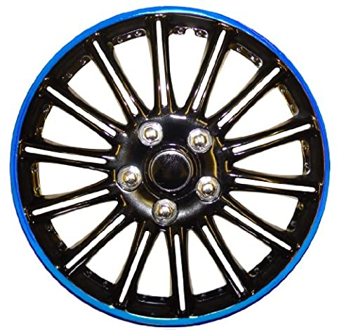 14 Inch Black with Blue Pinstripe Car Hub Caps Wheel