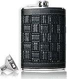 OUTDOOR SAXX - Edelstahl Flachmann im Leder Design Braided schwarz | hochwertige Taschen-Flasche für Whiskey Kräuter Schnaps Schraub-Verschluss mit Sicherung | 260ml mit GRATIS Einfüll-Trichter