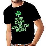 lepni.me T-shirt pour hommes Kiss me I'm Irish, Saint Patrick day jokes quotes shirts (XXXX-Large Noir Multicolore)