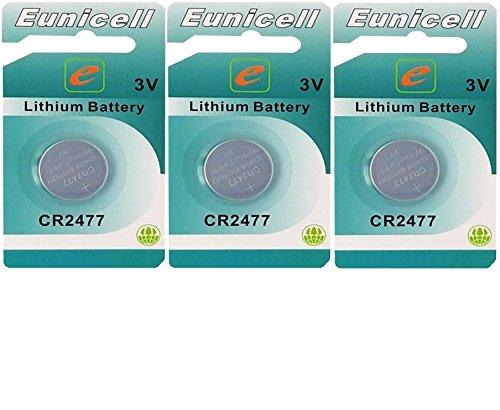 3 x CR2477 3V Lithium Knopfzelle 1050 mAh ( 3 x EINZELBLISTER ) Markenware Eunicell