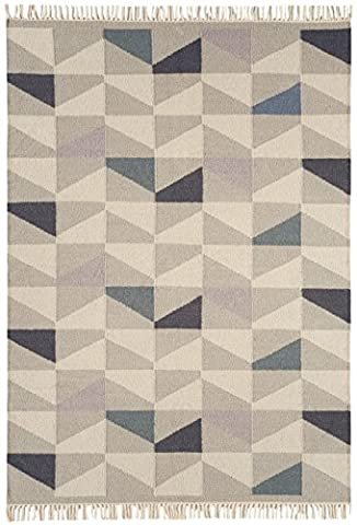 Modern Designer carpet HAVRE kilim 160x230cm Geo Heather purple, ivory, gray 80% wool 20% JUTE