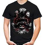 Nightmare Gang Männer und Herren T-Shirt | Freddy Michael Myers Jason Voorhees (4XL, Schwarz)