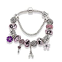 The Eiffel Tower castle beaded glass bead bracelet purple 20cm,WISA001