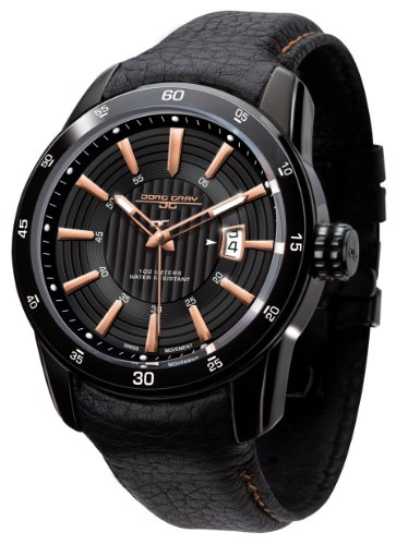 Jorg Gray Men's Analogue Watch JG3700-12 with Black Dial and Leather Strap