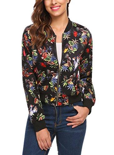 Finejo Damen Blumen Bomberjacke Blouson mit Reißverschluss Geblümte BlousonJacke Stehtkragen Kurz Floral Jacke