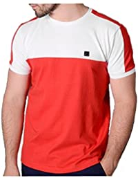 Voi Jeans True Red & White Sails Panelled Crew Neck Pique T-Shirt