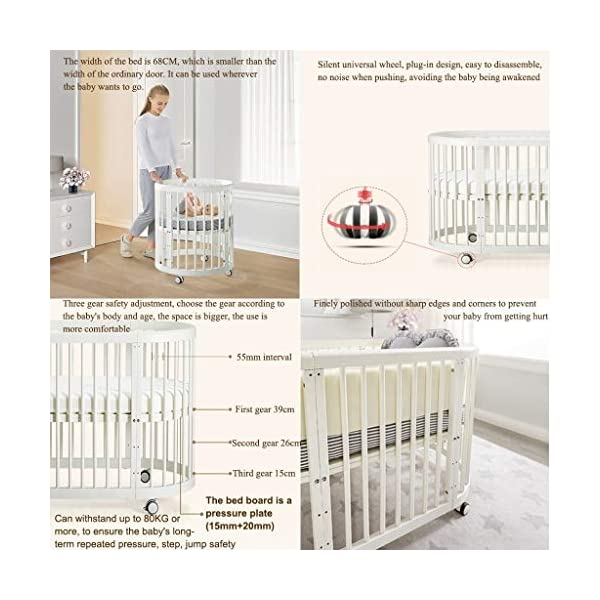 DUWEN Wooden Baby Cot European Multifunctional Small Round Bed Convertible To 3 Positions Toddler Bed Child Bed Sofa Bed Suitable For Cribs Under 6 Years(With Mattress and Bedding) DUWEN 【CONVERTIBLE CRIB】:Easy-to-change 3-in-1 cot can be easily converted from a crib to a nursing table and crib. The versatile crib will provide your child with a comfortable sleep. Beautifully designed cribs can grow with your child from infancy through childhood to adulthood. 【GROW UP WITH YOUR BABY】: The 3-bed mattress height adjustment function on the crib allows you to lower the mattress when your baby starts sitting or standing. It can keep your baby safe and comfortable in the bed that grows up with your baby. This convertible adjustable multifunctional bed will make your child's life unforgettable. 【STURDY PINE WOOD】: The crib is made of high-quality beech wood, which is sturdy and durable, bears more weight, has a carrying capacity of more than 150KG, is easy to assemble, and is designed for the healthy sleep of babies aged 0-6. 3D mousse growth mattress provides babies with comfortable and undisturbed sleep. 4
