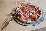 Set di 2 Piatti in Pietra naturale di Luserna per pizza, da portata, sottopiatto