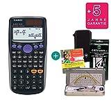 Streberpaket: Casio FX 85 GT Plus Schwarz + Schutztasche + Lern-CD + Geometrie-Set + Erweiterte Garantie