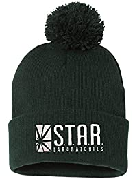 free shipping a149d da201 One Size Forest Adult Star Labs Embroidered Knit Beanie Pom Cap