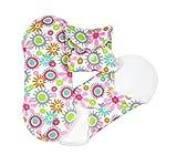 ImseVimse Lot de 3 serviettes hygiéniques lavables en coton biologique Motif fleuri