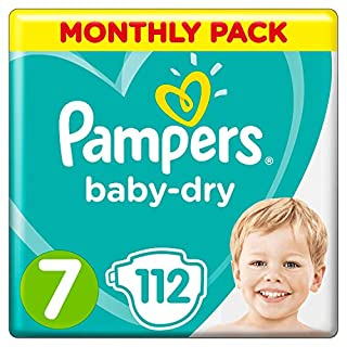 Pampers Baby-Dry Size 7, 112 Nappies, 15+ kg, Air Channels for Breathable Dryness Overnight, Monthly Pack (B0792T8X3V) | Amazon price tracker / tracking, Amazon price history charts, Amazon price watches, Amazon price drop alerts